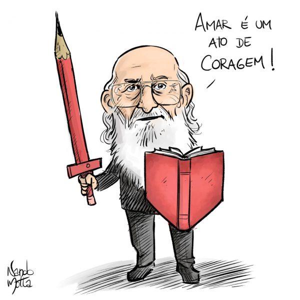 Paulo Freire mit Stift-Schwert